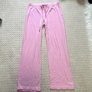 Victoria secret pink pajama pant waffle knit thermal silk satin ties baby pink